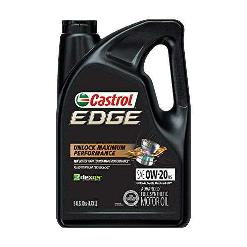 Castrol 03124 Edge 0W-20 Advanced Full Synthetic Motor Oil, 5 Quart